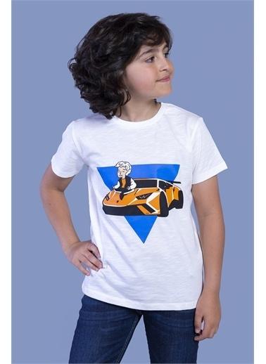 Toontoy Kids Toontoy Erkek Çocuk Araba Baskılı Tişört Ekru